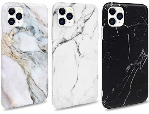 ToneSun Marmor Hülle kompatibel mit iPhone 11 Pro Max Hülle Silikon Matt, [3 Stück] Weich TPU Handyhülle Ultra Dünn Handytasche Hülle Flexibles Marble Schutzhülle - Weiß, Schwarz, Lila grau