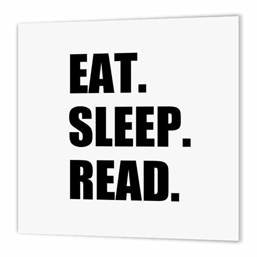 3dRose Eat Sleep Read - Fun Gift for Reading Fans Bookworms and Avid Readers - Iron on Heat Transfer, 8 by 8-Inch, for White Material (ht_180433_1)