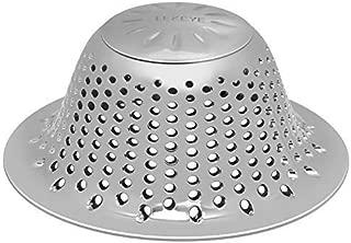 LEKEYE Bathtub Drain Hair Catcher/Stainless Steel Drain Protector/Hair Trap-Silver