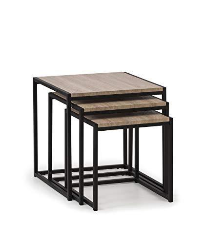 Julian Bowen Tribeca Nest of Tables, Sonoma Oak/Black