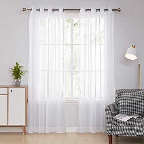 Deconovo Ösenvorhang Transparent Vorhang Voile Gardinen Voile 245x140 cm Weiß 2er Set