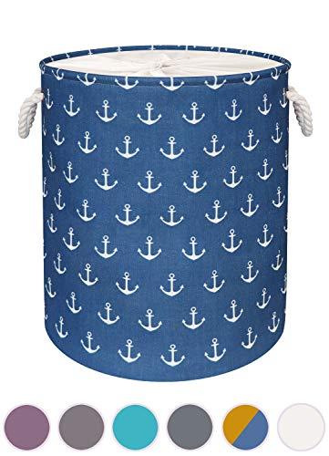 arteneur ® - Blauer Anker Wäschekorb - Großer Faltbarer Wäschesammler mit 3-Lagigem Canvas-Polyester und Stabilen Kordel Griffen, Verstärkter Boden, Sichtschutz, Wasserabweisend & Bügelbar