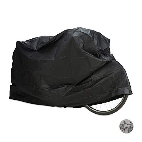 Relaxdays Unisex– Erwachsene 200 x 115 cm, in Schwarz Fahrradgarage aus Polyethylen, reißfeste Schutzhülle, Sonnenschutz, robuste Abdeckung 200 x 110 cm