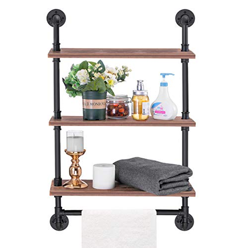 MUZIK 5 Tier Industrial Wall Mount Iron Pipe Shelf, 3/4 Inches Malleable Cast Iron Pipe Wall Mount Bookshelf Shelving Unit, DIY Open Bookshelf, Shelf Shelves, 2 Pack 65 Inch Tall