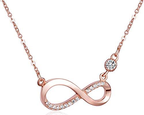 Unendlich U Fashion Unendlichkeit Zeichen Damen Halskette 925 Sterling Silber Zirkonia Anhänger Kette mit Anhänger, Rosegold/Silber (Rosegold(mit Geschenkbox))