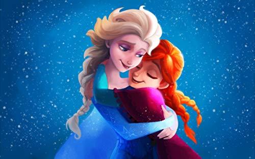 1000 stukjes puzzel Cartoon patroon knuffelen prinses, familie spel speelgoed met puzzel 75x50cm