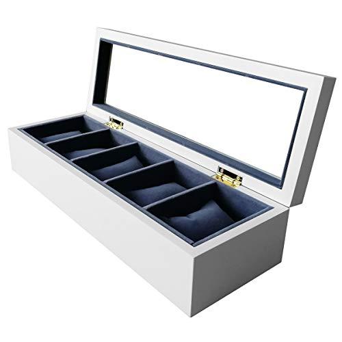 Feibrand Massivholz 5 Fächer Uhrenbox Organizer Case mit Glasdisplay Top für Uhren Schmuck - Weiß