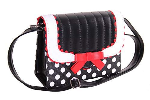SugarShock Soranda Damen Handtasche Polka Dots, Farbe:schwarz weiss