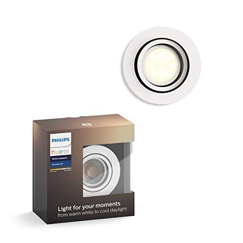 Philips Hue Milliskin Foco Inteligente LED GU10, 5.5 W, Luz Blanca de Cálida a Fría, Compatible con Alexa y Google Home