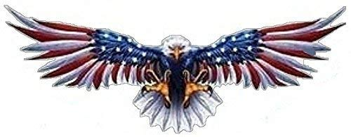 MFX Design Flying Eagle with Us Flag On Wings Helmet Sticker Decal Bumper Sticker Decal Open Wings Vinyl - Made in USA 3.5 in. x 1.5 in.