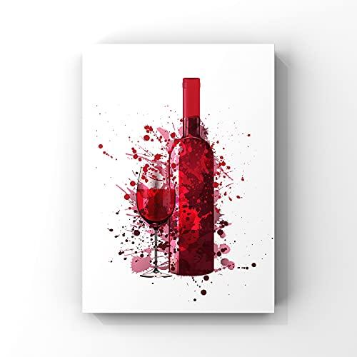 Póster de acuarela para vino, arte del vino, pintura del vino, decoración de cocina, impresión de cocina, lienzo de regalo, no enmarcado de 20,3 x 25,4 cm