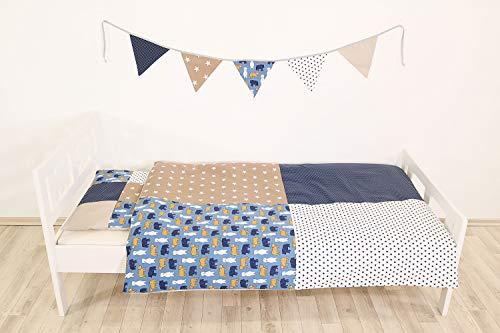 Completo di biancheria da letto per bambino ULLENBOOM ® sabbia, orso (federa guanciale 40x60 cm (patchwork) e copripiumino 100x135 cm)