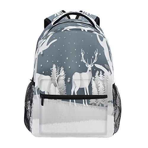 Ciervo De Alce De Nieve Blanca Mochila de Estudiantes Hombro Mochilas para Viajes Escolar Niños Niñas