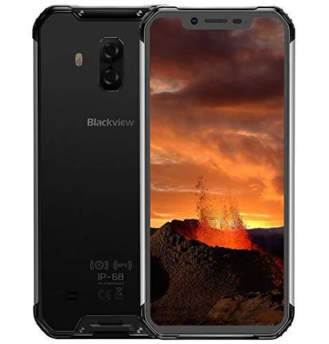Blackview BV9600E【2020】 4G Smartphone Libre Resistente, Helio P70 4GB + 128GB, Android 9.0 IP68 Móvil Antigolpes Todoterreno, 6.21'' FHD + AMOLED, Dual SIM, NFC, 16MP + 8MP, Carga Inalámbrica Negro