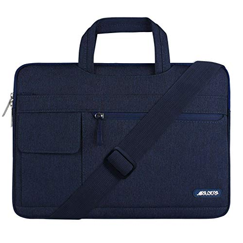 MOSISO Laptop Schultertasche Kompatibel mit 13-13,3 Zoll MacBook Pro, MacBook Air, Notebook Computer, Polyester Flapover Messenger Aktentasche Handtasche, Navy Blau
