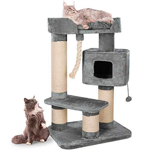 Happypet massiver Premium Kratzbaum stabil für schwere Katzen Maine Coon | 15 cm Dicke Sisalstämme | 600g Plüsch | geprüfte E1 Holzplatten Spiel-Tau | Höhe 118 cm | GRAU