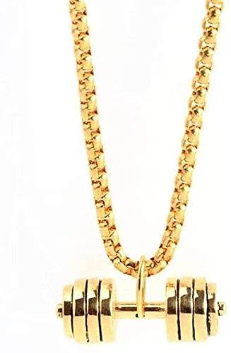NC190 Collar de Moda Mancuernas de Fitness de Acero Inoxidable Collar de Moda Joyas Deportivas Collar con Colgante de Mancuernas de Acero de Titanio Collar de Oro Regalo para Mujeres Hombres Regalos