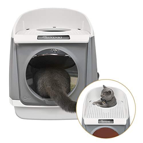 DADYPET Arenero gatos 55*46*49cm Aseo Gatos Doble puerta giratoria Desodorante de carbón activado