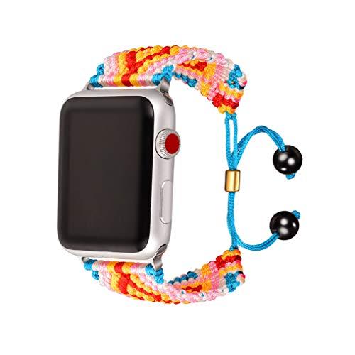 bandmax Armband kompatibele für Apple Watch 42mm/44mm, Handgearbeitet Nylon Gewebe Gurt Ersatzarmband Böhmische Surferarmband Uhrenarmband für Apple Watch Sport iWatch Series 5/4/3/2/1(Rot&Gelb)