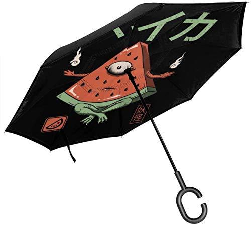Paraguas invertido de Doble Capa de sandía de los Monstruos de Yokai para Las Manos Plegables invertidas en Forma de C invertidas del Coche - Ligero y a Prueba de Viento y Ndash;