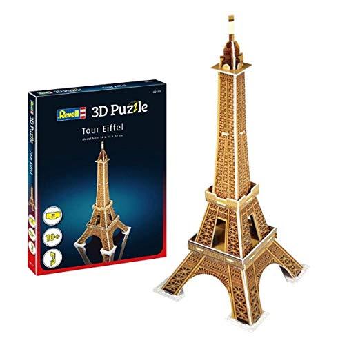 Revell 3D Puzzle 00111 Eifelturm, das Wahrzeichen von Paris Die Welt in 3D entdecken, Bastelspass für Jung und Alt, farbig