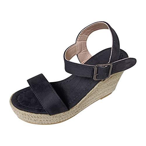 Mengove Verano de las mujeres de gran tamaño con hebilla de cuña cinturón de punta abierta talón pendiente sandalias de tejido