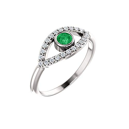 Hermoso anillo esmeralda auténtica zafiro blanco