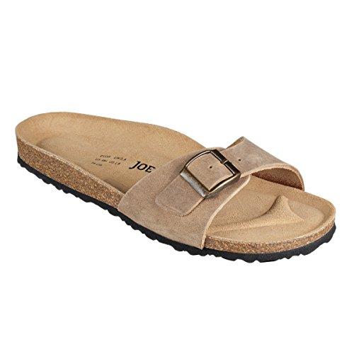 JOE N JOYCE Porto Riemchen-Sandalen Damen mit Komfortfussbett, für schmale Füsse, Größe: 41 EU, Farbe: Beige, Material: Leder, Ein-Riemer, 1-Riemen, Frauen