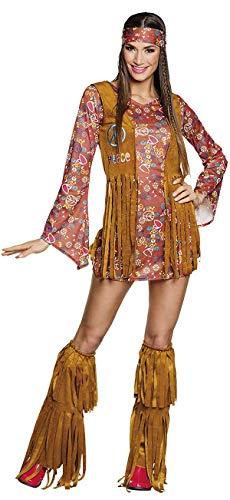 TH-MP Vestido de hippie colorido para mujer, chaleco con flecos, calentadores, cinta para la cabeza, disfraz hippie para carnaval (44/46)