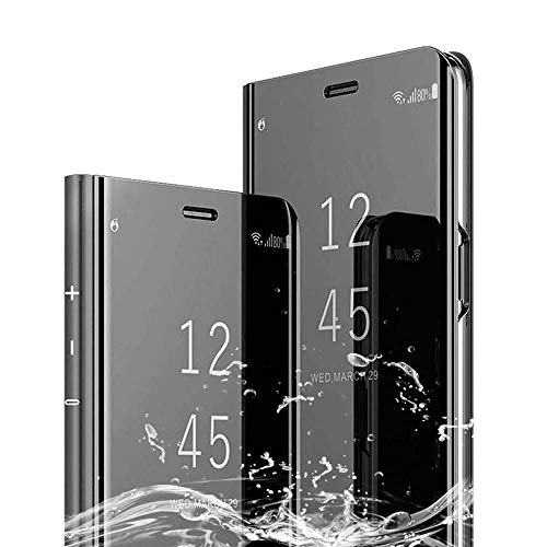XCYYOO Spiegel Hülle Kompatibel mit LG G8s ThinQ Cover Clear View Flip Schutzhülle Überzug PU Leder Tasche Frau Handyhülle Ultra Dünn Stoßfest Standing Bookstyle Case [Leicht zu Reinigen]