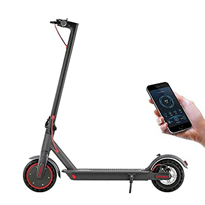 AOVO Pro Folding Electric Scooter Adult Max Speed 19.3mph Solid Tire Range 25km Motor 350W 36V 7.8 Ah Long Life Battery with APP