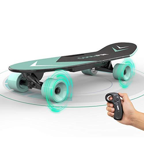 Elektrisches Skateboard mit ferngesteuertem Longboard für Kinder und Erwachsene, 150-W-Motor, zwei Geschwindigkeitsmodi, tragbare E-Skateboard-Kick-Skateboard-Geschenke für Kinder (green)