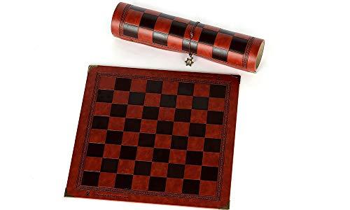 NLLeZ Tablero de ajedrez de 1set Diseño único de patrón en Relieve Tablero de ajedrez de Cuero Tablero de ajedrez Universal Tablero de ajedrez portátil (Color : Chocolate)