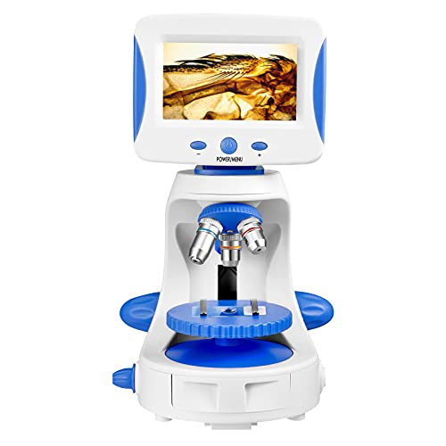 5' HD Digital Microscope Kit,2000X Kids Microscope with 35 Specimens and 5 Slides,Electron Microscope for Kids Students to Observe Cells Coins