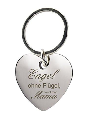 Schlüsselanhänger Herz mit Gravur »Engel ohne Flügel, nennt man Mama« - Geschenk Mutter - Muttertag - Muttertagsgeschenk oder als Geschenk zu Weihnachten