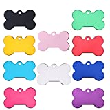 NC 20 Pcs Pet ID Tag Bone Shape Double Sided Dog Cat Pet Name Phone Number ID Tag Charm Personalized, 38MM