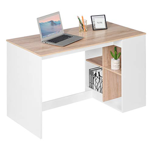 Office Computer Desk 47'' Kids Writing Desk Study Work Desk with 4 Storage Shelves Home PC Laptop Gaming Table Modern Wood Workstation with Bookcase Reception Room Tables, Beech White