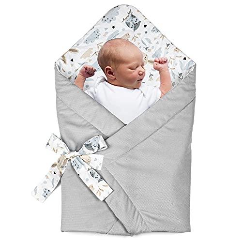 Babyhörnchen Decke - Babydecke Einschlagdecke Babyhörnchen Babynest Wickeldecke Umschlagdecke 80 x 80 cm (Baumwolle mit Eulen - Velvet in Grau)