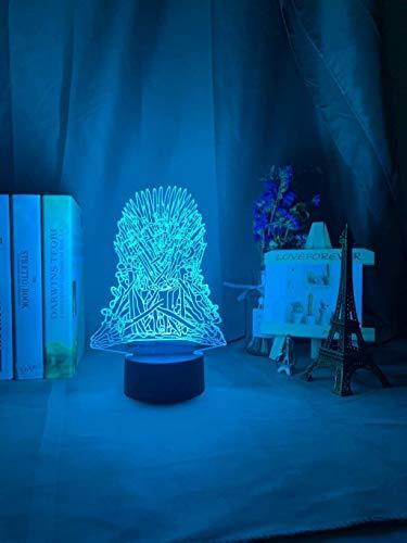 Modelo De Trono De Hierro Luz Nocturna Luz Led Decoloración Sensor De Ambiente Táctil Para Decoración De Dormitorio Regalo De Luz Nocturna