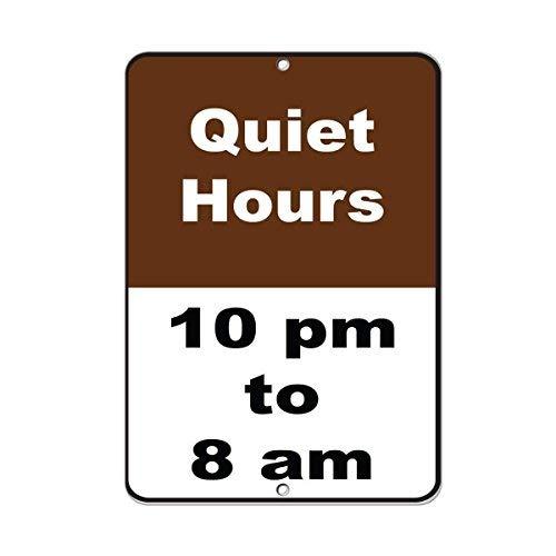 WENNUNA Schild für Campingplatz, Motiv: Quiet Hours, 10 Uhr bis 8 Uhr