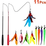 MeoHui 11PCS Retractable Cat Feather Toy Set, Interactive Cat Toys Wand with 2 Poles & 9 A...
