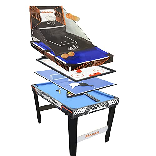 Abaseen Multi Games Table 4 in 1 Combo Family Activity Game, Mini Pool, Air...