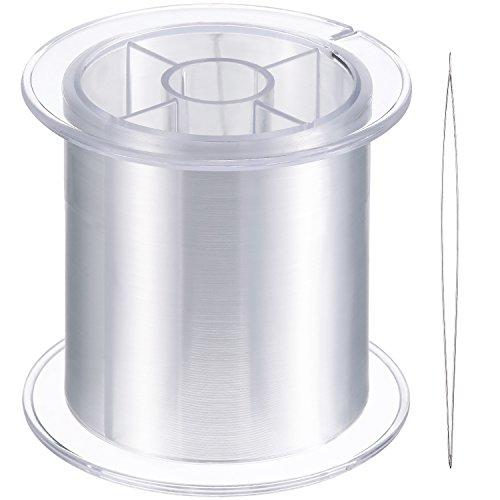 Blulu 500 m Klar Nylon Unsichtbares Faden für die Hängende Ornamente und Nähen Hobby, Stark und Unsichtbar, 0,25 mm, mit Perlen Nadel