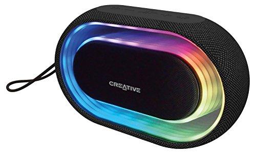 Creative Halo - Tragbarer Lautsprecher (2.0 Kanäle, Verkabelt & Kabellos, Bluetooth/3.5 mm, A2DP,AVRCP,HFP, 10 m, Stereo portable speaker) schwarz