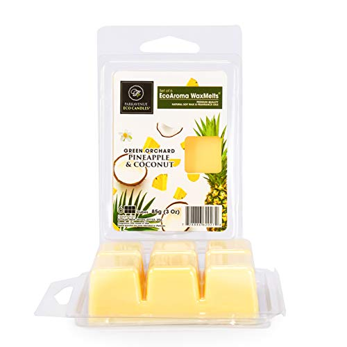Eco Aroma Coco-Soy Candles, Set of 6 Cubes (3 Oz), Pineapple & Coconut...