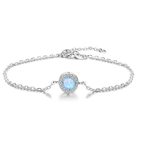Blau Opal und Zirkonia Simulierte Diamant Schmuck 925Sterling Silber Verstellbarer Armreif