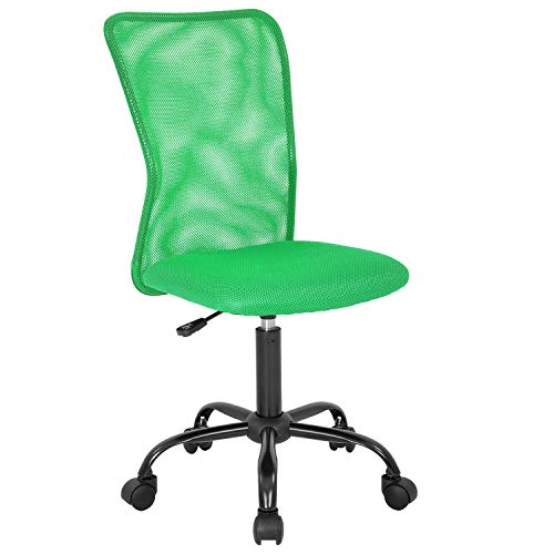 Mesh Office Chair Desk Chair Computer Chair with Ergonomic Lumbar Support Without Arms Adjustable Swivel Rolling Chair for Men(Green)