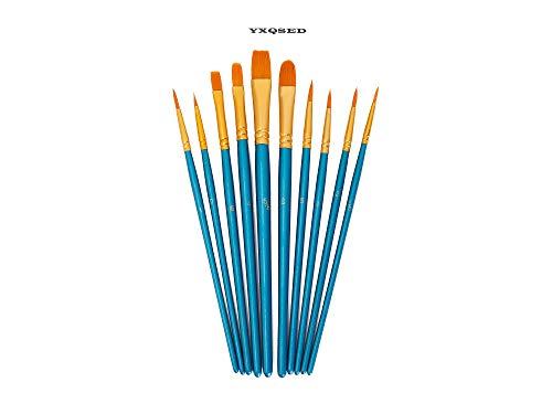 YXQSED-10 Künstlerpinsel,Premium Nylon Pinsel für Aquarell, Acryl & Ölgemälde usw. Perfektes Pinsel Set für Anfänger, Kinder, Künstler und Gemälde Liebhaber Blaues Set