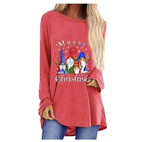 KANGMOON Womens Casual Christmas Sweatshirts Long Sleeve Shirts Oversized Tunic Tops S-3XL