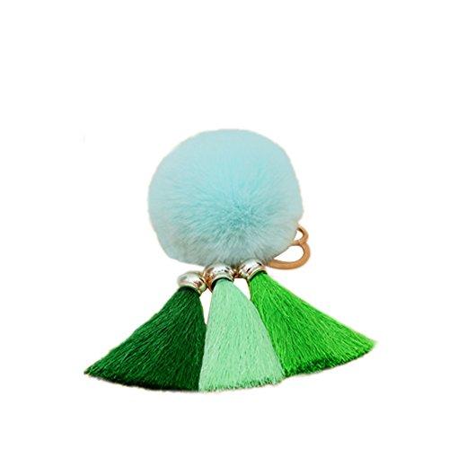 Vi.yo Eis Seide gefranst Plüsch Schlüsselanhänger Haar-Ball Form Damentasche Schlüsselanhänger Geeignet für Rucksack Auto Dekoration Anhänger Haarballen größe 8cm, Quaste Größe 8cm